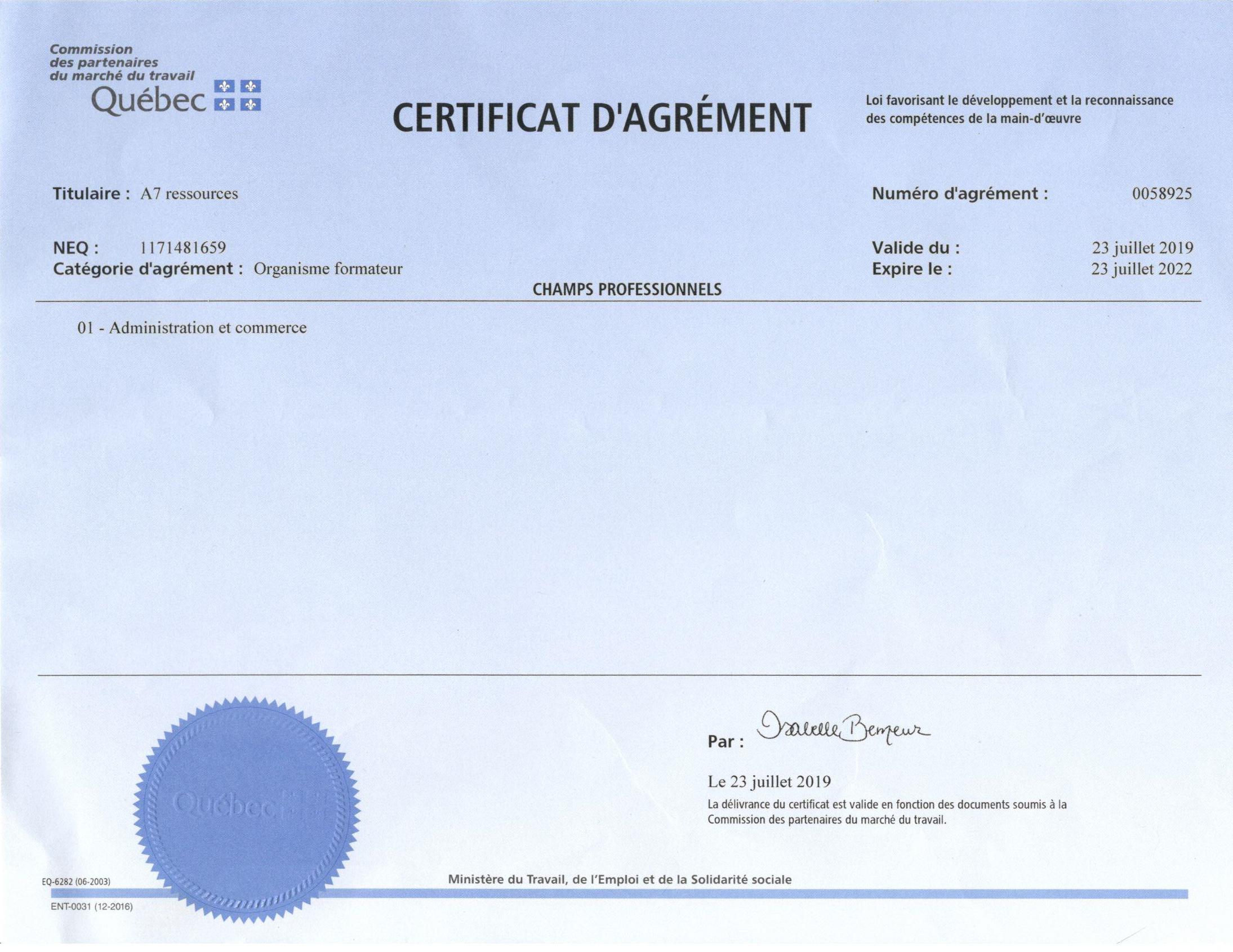certificat_AGREMENT_organismeFORMATEUR_2019-2022