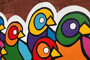 Murale d'oiseaux aux couleurs vives et stimulantes