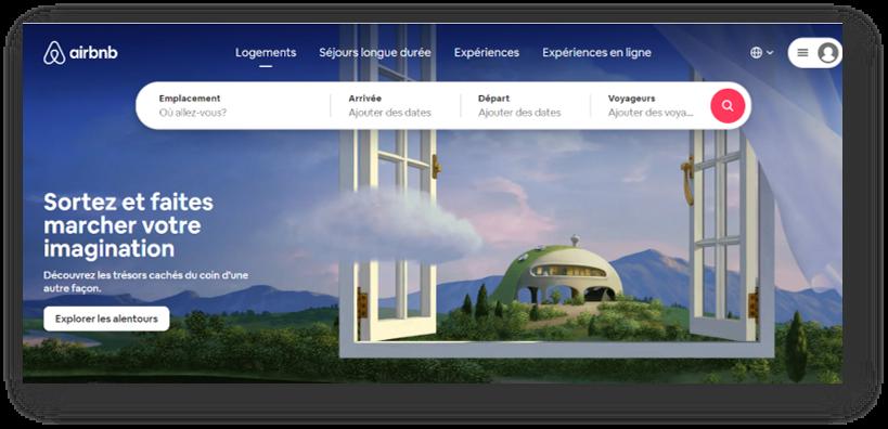 Page d'accueil de la compagnie Airbnb