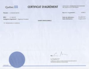 Certificat d'agrément d'emploi Québec