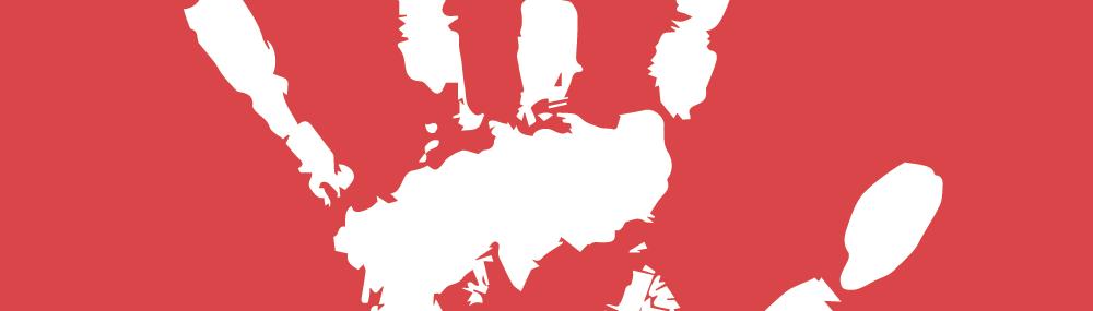 Main blanche sur fond rouge