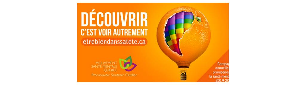 Affiche avec une montgolfière colorée